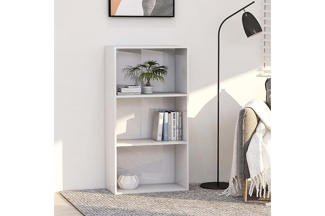 bogreol med 3 hylder 60x30x114 cm spånplade hvid højglans - Hvid - Møbler - Opbevaring - Hylder & Reoler