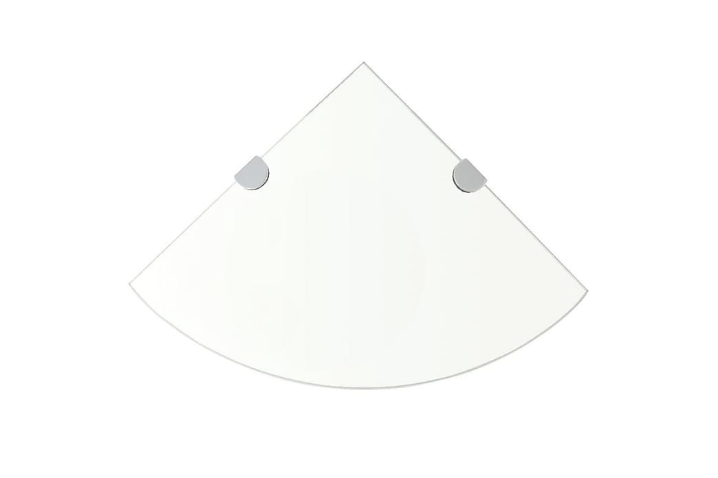 hjørnehylder m. krombeslag 2 stk. 35 x 35 cm klar glas - gennemsigtig - Møbler - Opbevaring - Hylder & Reoler