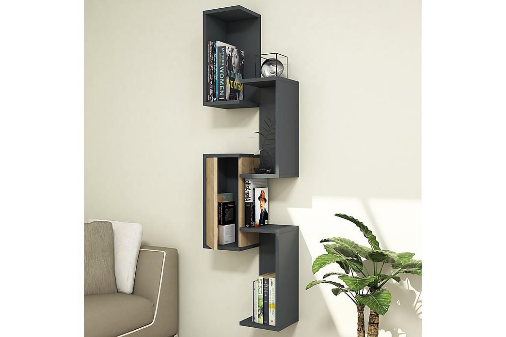 Puqa Design væghylde - Mørkegrå / træ - Møbler - Opbevaring - Hylder & Reoler