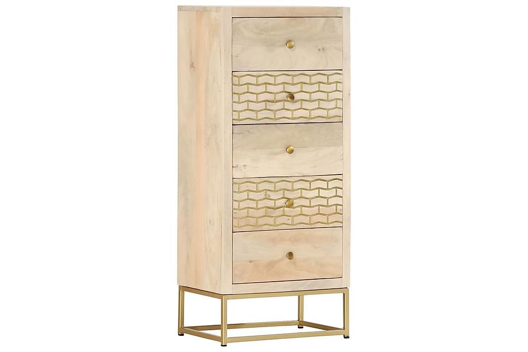skuffeskab 45x30x105 cm massivt mangotræ guldfarvet - Guld - Møbler - Opbevaring - Kommode
