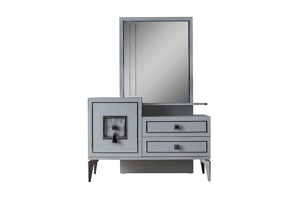 Belek Skænk 125x48 cm med Spejl - Hvid/Sølv - Møbler - Opbevaring - Skænke & sideboards