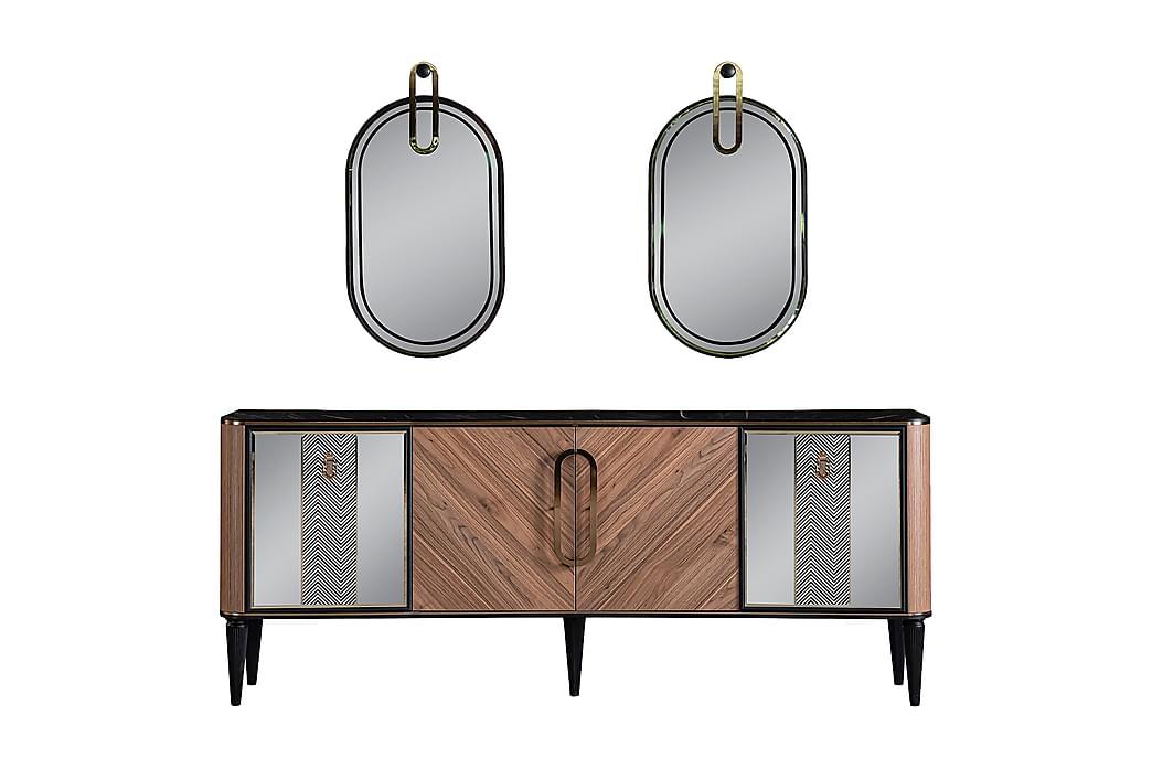 Istine Skænk 208x46 cm med Spejl - Natur/Sort/Hvid/Guld - Møbler - Opbevaring - Skænke & sideboards