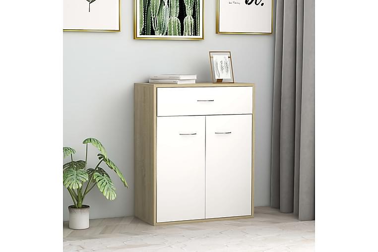 skænk 60 x 30 x 75 cm spånplade hvid og sonoma-eg - Hvid - Møbler - Opbevaring - Skænke & sideboards