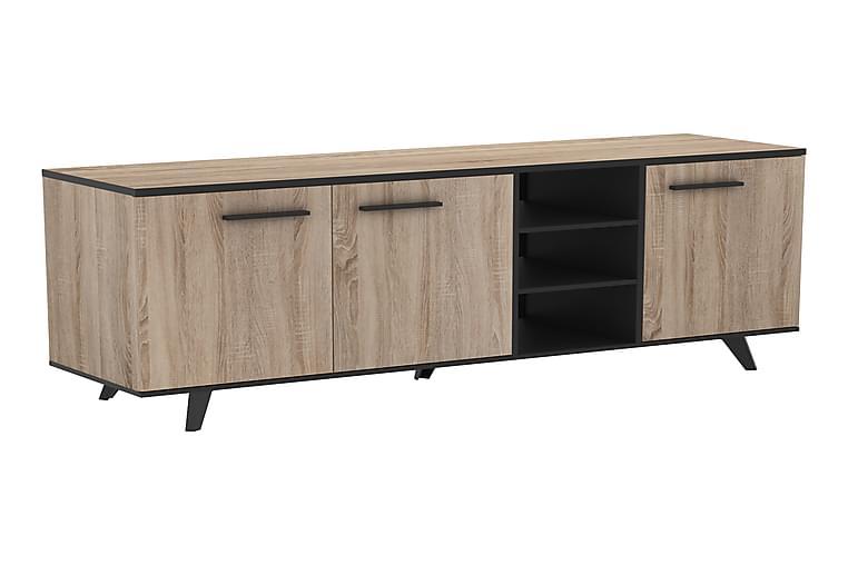 Stina Sideboard 160 cm - Børstet Eg/Sort - Møbler - Opbevaring - Skænke & sideboards