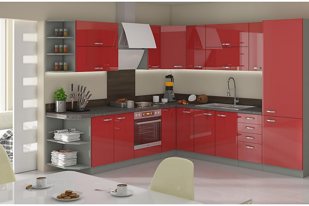 Rose Køkkenmøbel - Rød | Hvid - Møbler - Opbevaring - Skabe