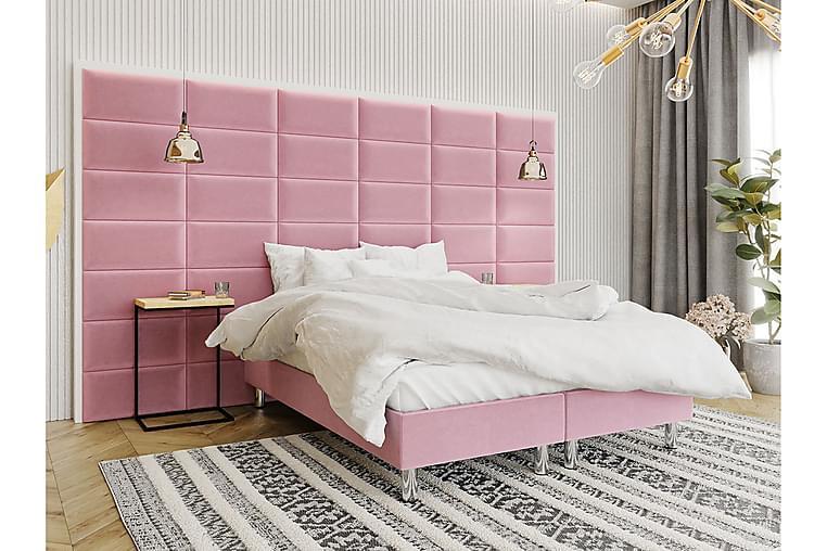 Adeliza Kontinentalseng 140x200 cm+Panel 60 cm - Lyserød - Møbler - Senge - Komplet sengepakke