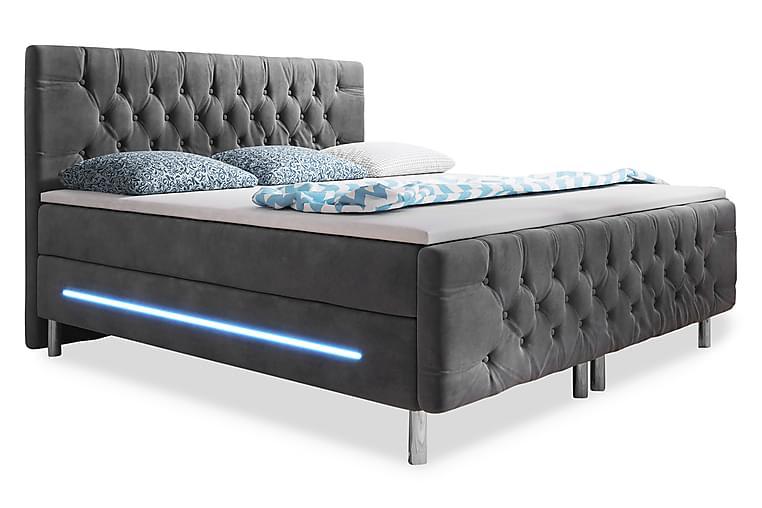Chester Sengepakke 160x200 LED-belysning Velour - Grå - Møbler - Senge - Kontinentalsenge