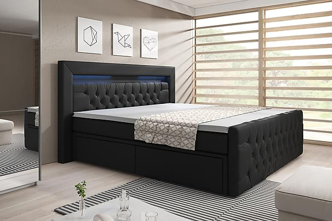 Franco sengepakke 160 med LED och opbevaring kunstlæder - sort - Møbler - Senge - Komplet sengepakke