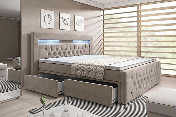 Franco Kontinentalseng med Opbevaring & LED Lys 160x200 - Beige Velour - Møbler - Senge - Komplet sengepakke