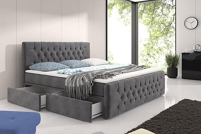 Velluto Komplet Senge med Opbevaring 180x200 med Fodgavl - Grå - Møbler - Senge - Komplet sengepakke