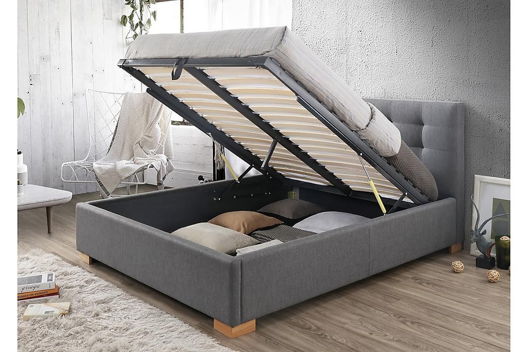 Kregme Sengeramme 160x200 cm med Opbevaring - Grå/Træ/Natur - Møbler - Senge - Sengeramme & sengestel
