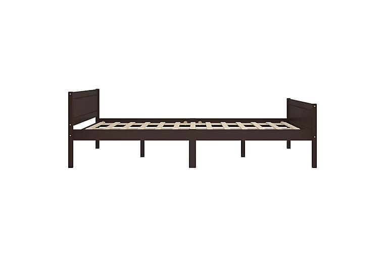 sengestel 120x200 cm massivt fyrretræ mørkebrun - Møbler - Senge - Sengeramme & sengestel