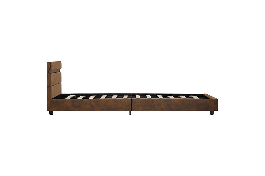 Sengestel med LED 100 x 200 cm stof brun - Brun - Møbler - Senge - Sengeramme & sengestel