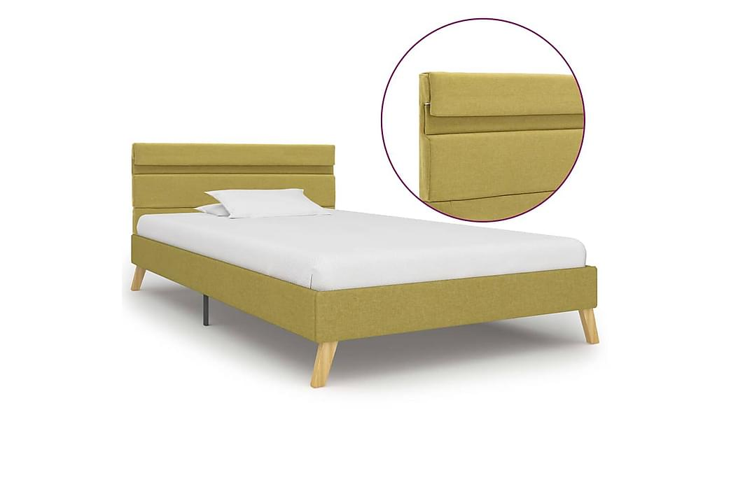sengestel med LED 100 x 200 cm stof grøn - Møbler - Senge - Sengeramme & sengestel