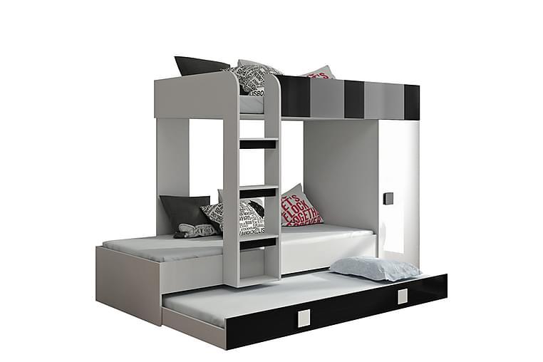 Toledo Seng 94x204 cm - Hvid Højglans/Sort Højglans - Møbler - Senge - Sengeramme & sengestel