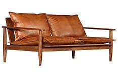 2-Personers Sofa Ægte Læder Akacietræ Brun