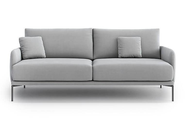 Inessa 3-Pers. Sofa - Velour/Grå - Møbler - Sofaer - 2 - 4 Personers sofaer