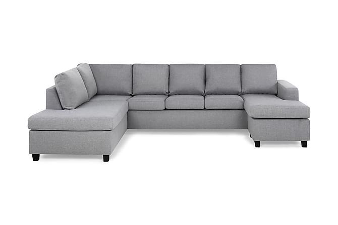 Crazy U-sofa XXL diva højre - Lysegrå Koniske Sorte ben - Møbler - Sofaer - Chaiselongsofa & U-Sofa