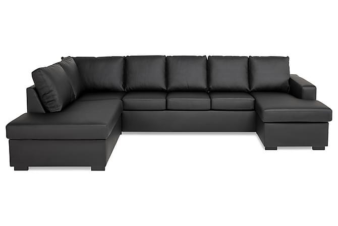 Crazy U-sofa XXL diva højre - Sort PU - Møbler - Sofaer - Chaiselongsofa & U-Sofa