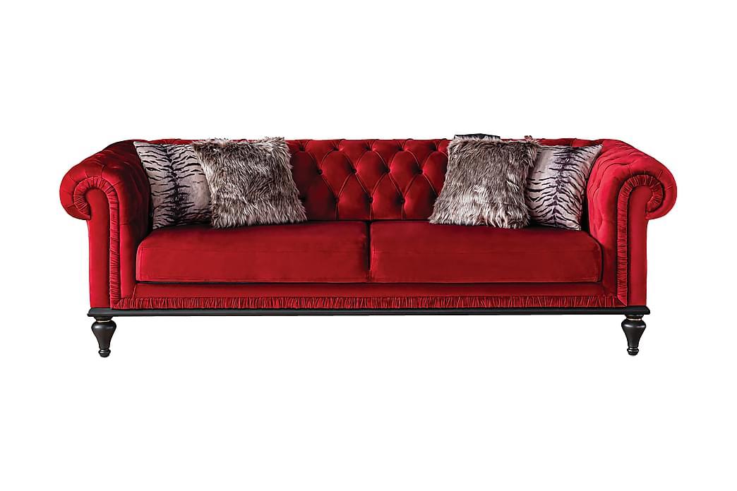 Surinsk 3-Pers. Chesterfieldsofa - Rød/Træben - Møbler - Sofaer - Howard sofa