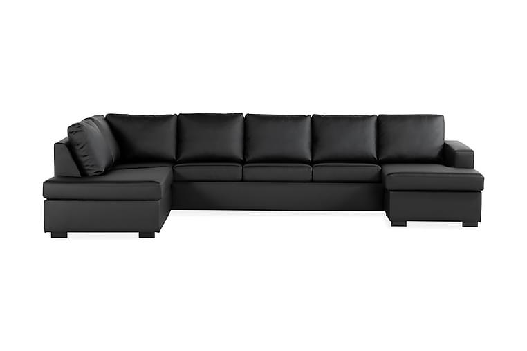 Crazy U-sofa XL Chaiselong Højre - Sort Kunstlæder - Møbler - Sofaer - Lædersofaer