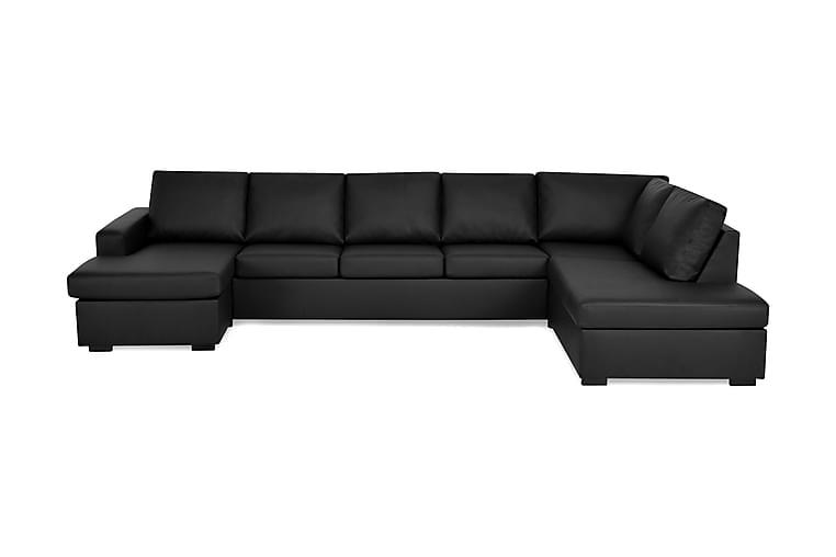 Crazy U-sofa XL Chaiselong Venstre - Sort Kunstlæder - Møbler - Sofaer - Lædersofaer