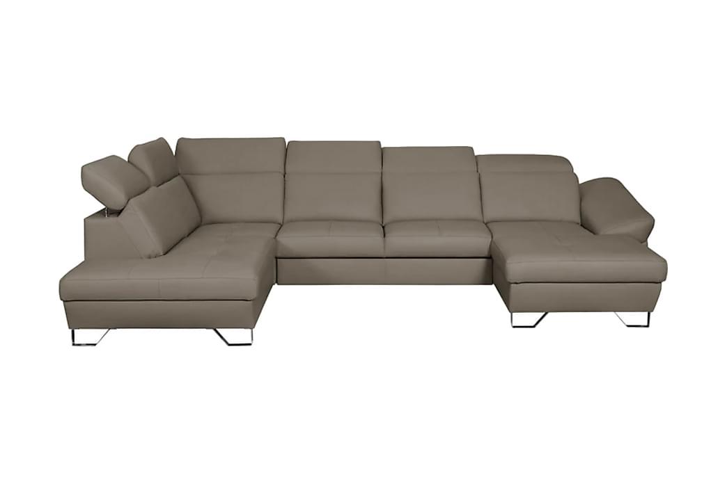 DENVER U-sofa - Grå - Møbler - Sofaer - Lædersofaer
