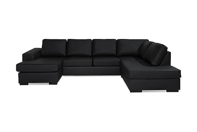 Ocean U-sofa Large med Chaiselong Venstre Kunstlæder - Sort - Møbler - Sofaer - Chaiselongsofa & U-Sofa