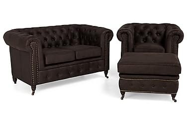 Chesterfield Deluxe Sofagruppe 2-pers+Lænestol+Puf