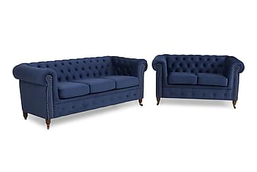 Chesterfield Deluxe Sofagruppe 3-pers+2-pers Velour