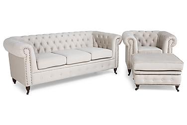 Chesterfield Deluxe Sofagruppe 3-pers+Lænestol+Puf Velour