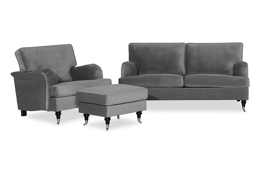 Howard Classic Sofagruppe 3-personers+Lænestol+Puf Velour - Sølvgrå - Møbler - Sofaer - Sofagrupper
