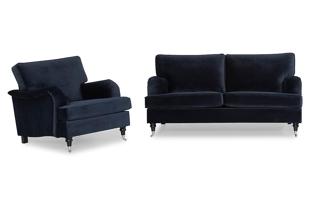 Howard Classic Sofagruppe 3-personers+Lænestol Velour - Midnatsblå - Møbler - Sofaer - Sofagrupper