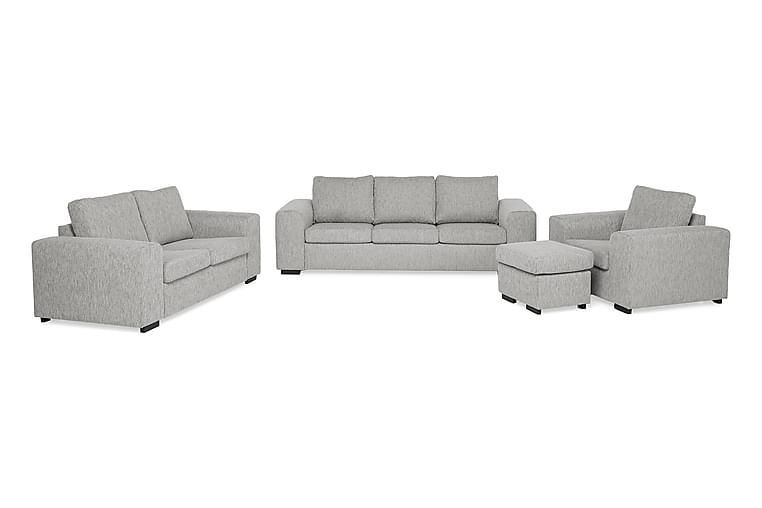 Link Sofagruppe 3-pers+2-pers+Lænestol+Puf - Lysegrå - Møbler - Sofaer - Sofagrupper