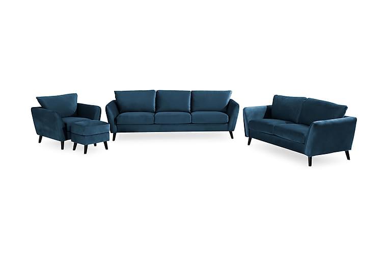 Trend Sofagruppe 3+2-Pers+Lænestol+Fodskammel Velour - Blå - Møbler - Sofaer - Sofagrupper