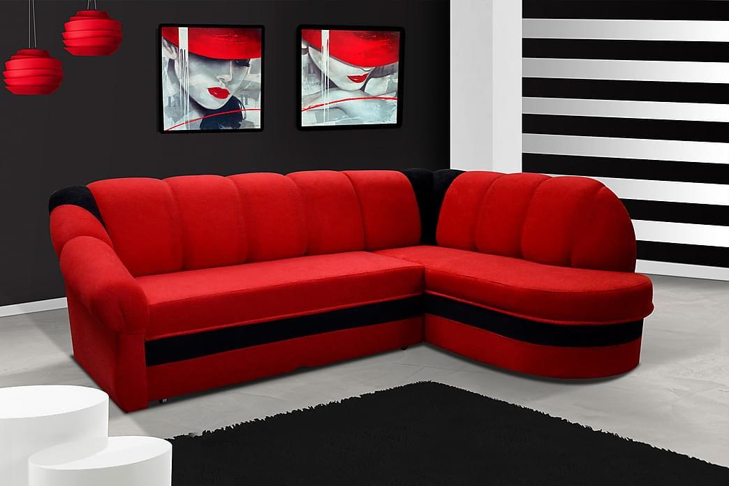 Hængt sovesofa med divan - Rød / sort - Møbler - Sofaer - Sovesofaer
