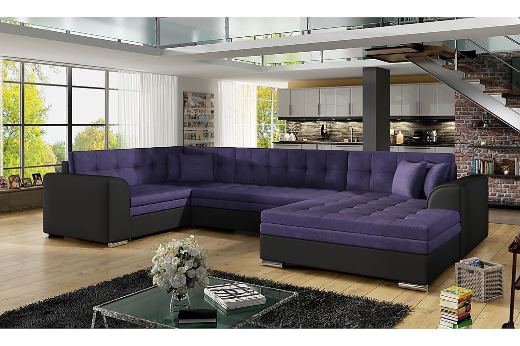 Rineta sovesofa med dobbelt sofa - Blå / sort - Møbler - Sofaer - Sovesofaer