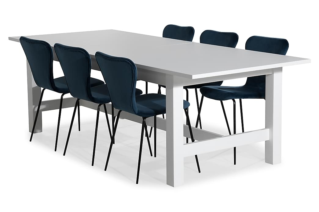 Altea Spisebordssæt Udvideligt 240 cm med 8 Perco Stole Velo - Hvid/Blå - Møbler - Spisebordssæt - Rektangulært spisebordssæt