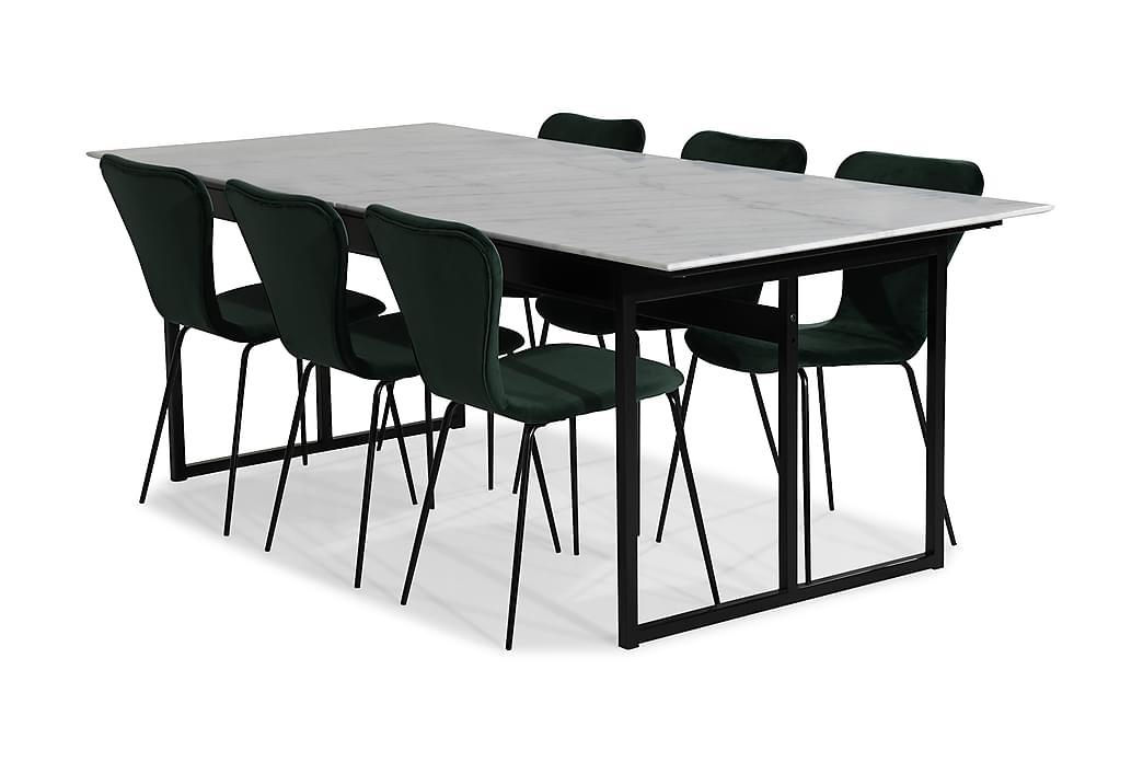 Carrie Spisebordssæt Marmor med 6 Perco Stol Velour - Hvid/Grøn/Sort - Møbler - Spisebordssæt - Rektangulært spisebordssæt