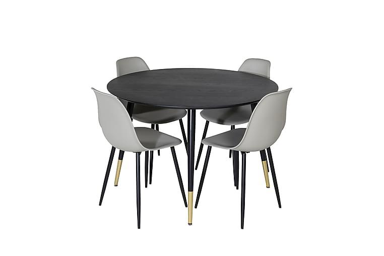 Daicy Spisebordssæt 115 cm inkl 4 Ypas Stole - Sort/Messing/Grå - Møbler - Spisebordssæt - Rektangulært spisebordssæt