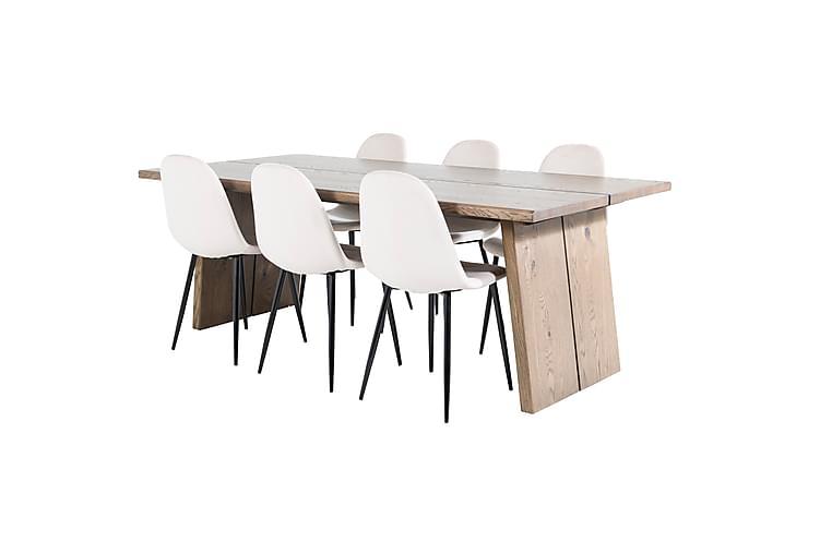 Eransus spisebord 210 cm med 6 pontus Køkkenstole - Møbler - Spisebordssæt - Rektangulært spisebordssæt