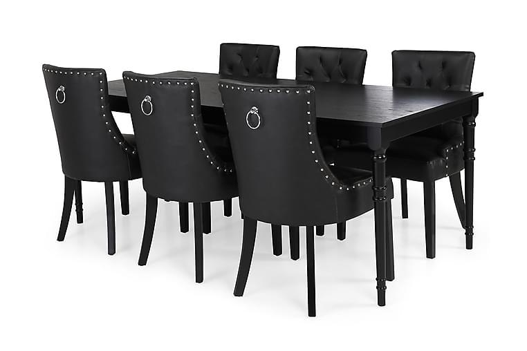Erin Spisebordssæt 200 cm med 6 Tuva Lænestol - Sort - Møbler - Spisebordssæt - Rektangulært spisebordssæt