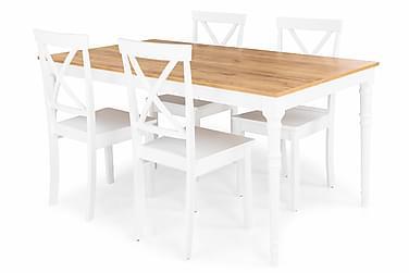 Erin Udvideligt Spisebordssæt 160 cm med 4 Hudson Stol
