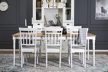 Erin Udvideligt Spisebordssæt 200 cm med 6 Hudson Stol