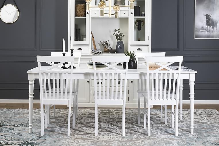 Erin Udvideligt Spisebordssæt 200 cm med 6 Michigan Stol - Hvid - Møbler - Spisebordssæt - Rektangulært spisebordssæt