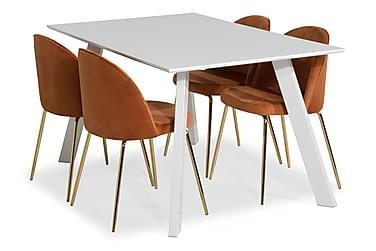 Fly Spisebordssæt med 4 Felipe Stol Velour