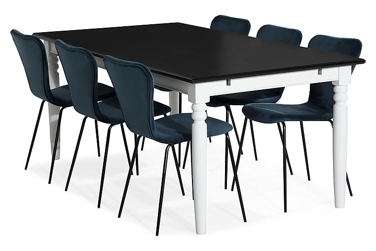 Hampton Spisebordssæt 190 cm Mahognifiner med 6 Perco Stole - Hvid/Blå - Møbler - Spisebordssæt - Rektangulært spisebordssæt