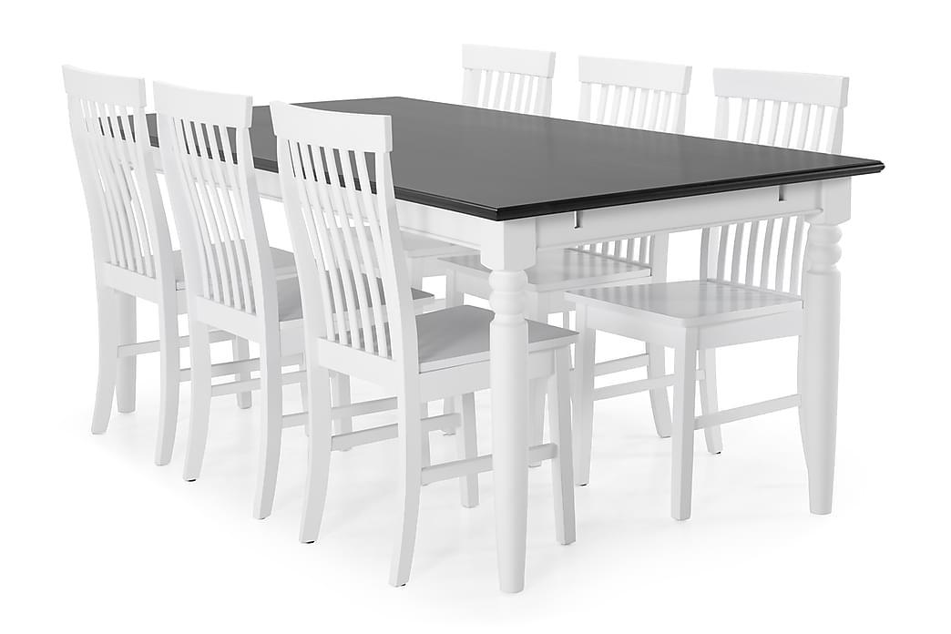 Hampton Spisebordssæt 190 cm med 6 Augusta Stol - Mahogni/Hvid - Møbler - Spisebordssæt - Rektangulært spisebordssæt