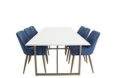 Heily Spisebordssæt 240 cm med 6 Pelle Stole