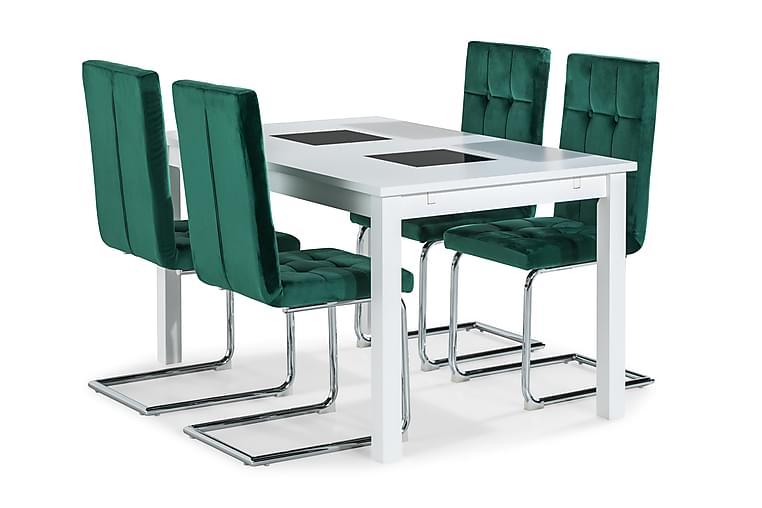 Jasmin Spisebord 140 cm Med 4 stk Jessed Spisebordsstol - Hvid/Grøn - Møbler - Spisebordssæt - Rektangulært spisebordssæt